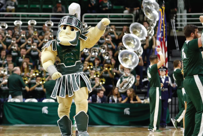 Sparty at a Basketball game